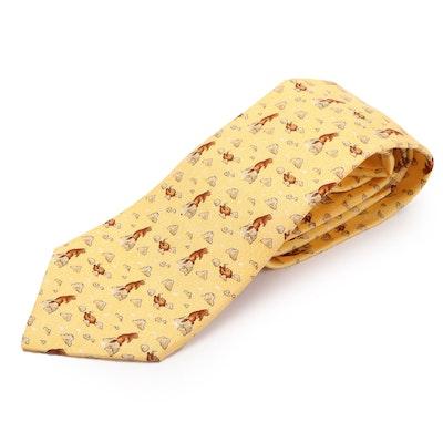 Hermès 7763 FA Prairie Dog Hand-Stitched Silk Twill Necktie