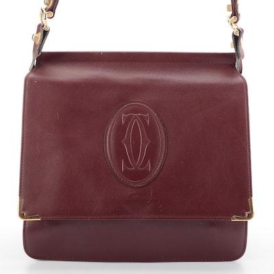 Cartier Le Must Dual-Flap Shoulder Bag in Bordeaux Leather