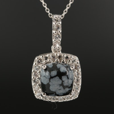Sterling Silver Snowflake Obsidian and White Topaz Pendant Necklace