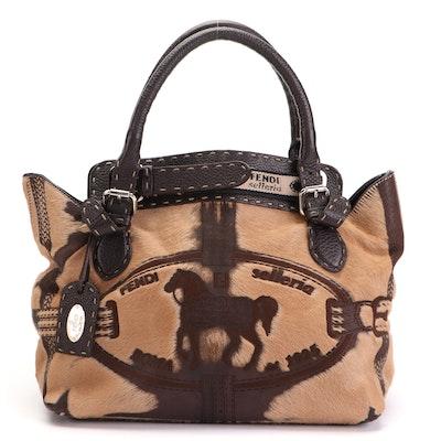 Fendi Selleria Borghese Calf Hair and Grained Leather Handbag