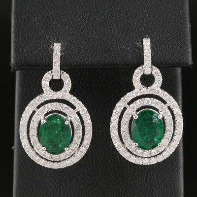 14K 3.60 CTW Emerald and 1.63 CTW Diamond Double Halo Drop Earrings