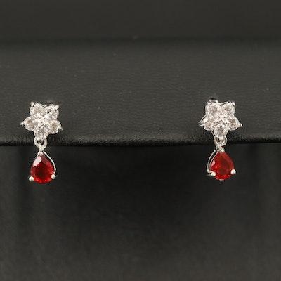 Sterling Fire Opal and Zircon Earrings