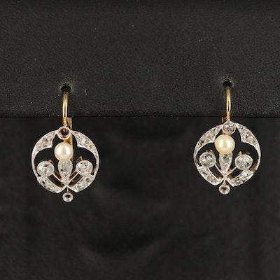 Vintage Platinum, 14K Pearl and Diamond Earrings