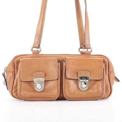 Prada Baguette Shoulder Bag in Dark Tan Leather with Exterior Pockets