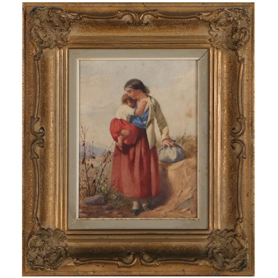 J G Brown Watercolor Painting of Mother and Child