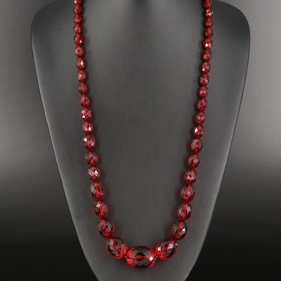 """Graduated """"Cherry Juice"""" Bakelite Necklace with Sterling Silver Clasp"""