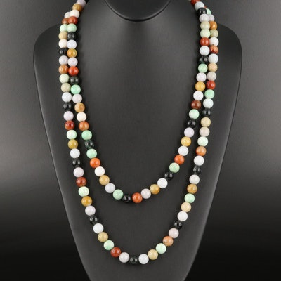 Multicolored Jadeite Endless Beaded Necklace