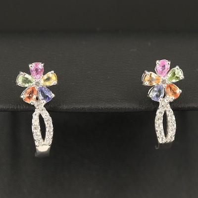 Sterling J Hoop Earrings Including Sapphire, Tanzanite and Peridot