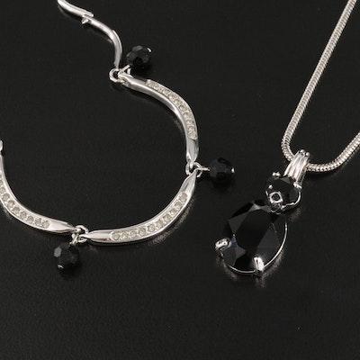 Swarovski Sterling Silver and  Rhinestone Necklaces