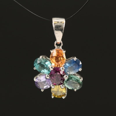 Sterling Pendant Including Sapphire, Sphene and Tanzanite