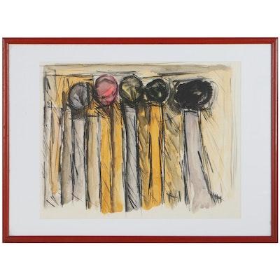 Achi Sullo Abstract Acrylic Painting, Circa 1960