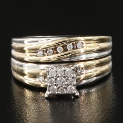 Sterling Silver and 10K Diamond Soldered Set Ring