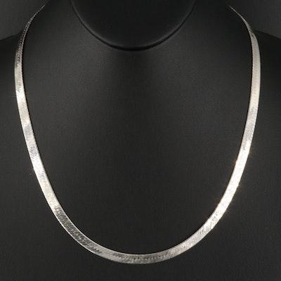 Italian Herringbone Sterling Chain Necklace