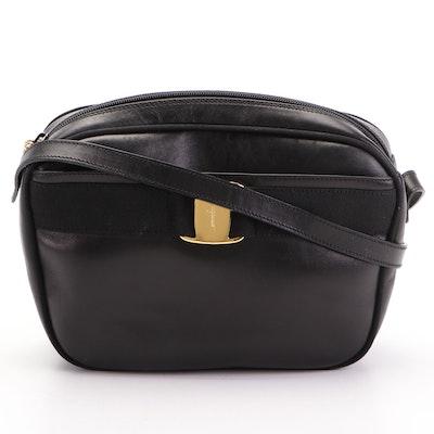 Salvatore Ferragamo Vara Shoulder Bag in Black Leather with Grosgrain Trim