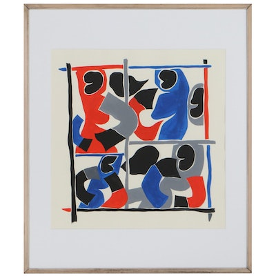 """Achi Sullo Mixed Media Painting """"Abstraction in Four Quadrants,"""" Circa 1965"""