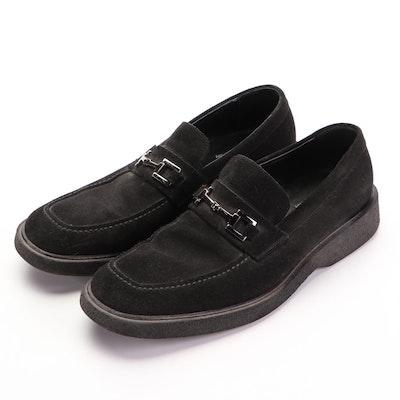 Men's Gucci Square Horsebit Crepe Sole Suede Loafers