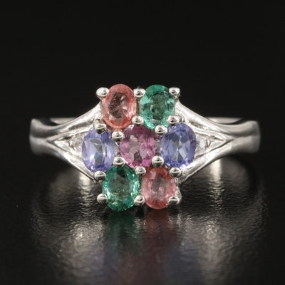 Sterling Silver Sapphire, Tanzanite and Tourmaline Cluster Ring