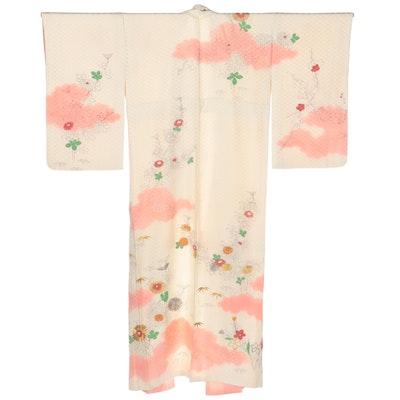 Hishi Textured Silk Floral Chrysanthemum Kimono, Showa Period