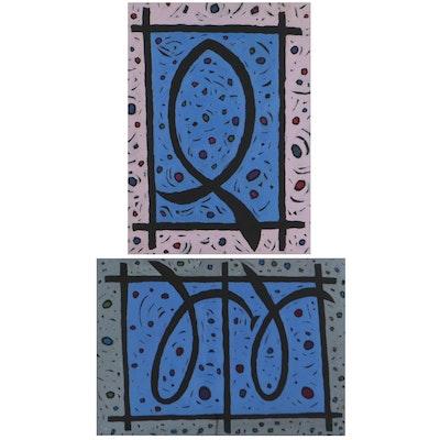 Achi Sullo Abstract Oil Paintings, Circa 1966