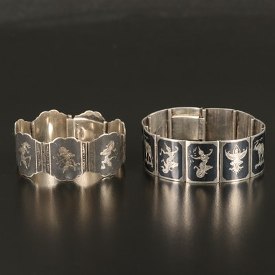 Vintage Siam Niello Panel Bracelets