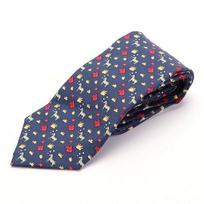 Hermès 7852 UA Zebras and Fish Print Hand-Stitched Silk Twill Necktie