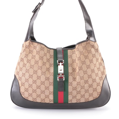 Gucci Jackie Hobo Bag in GG Canvas and Leather with Web Stripe