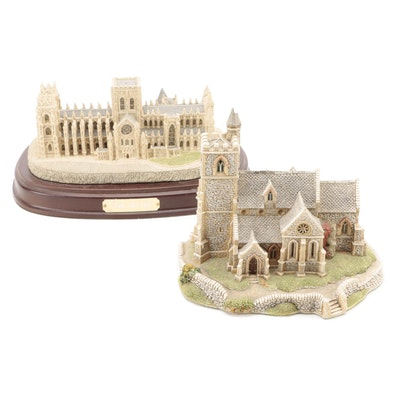 """Fraser Creations """"York Minster"""" with Lilliput Lane """"St. Lawrence Church"""" Figures"""