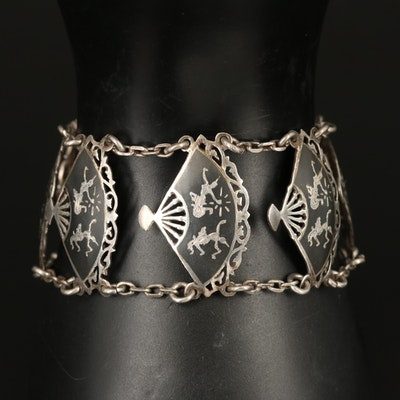 Vintage Siam Sterling Niello Fan Panel Bracelet