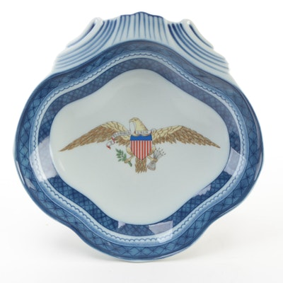 Vista Alegre Porcelain Dish with American Bald Eagle Motif, 21st Century