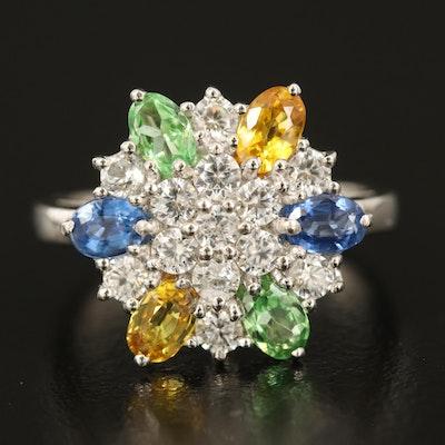 Sterling Kyanite, Tsavorite, Zircon, and Gemstone Ring