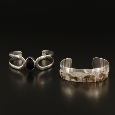 Sterling Cuffs Including Richard L Reeve Apache, Mexican