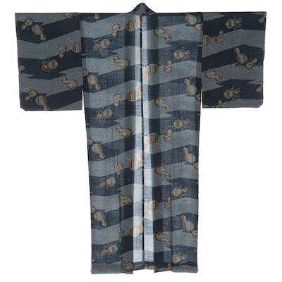 Men's Juban Kimono in Mosurin Print, Showa Era