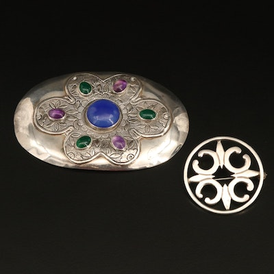 Sterling Brooches Including Tulla Booth, Amethyst and Chalcedony