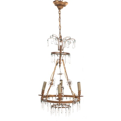 Louis XV Style Gilt Brass Tiered Four-Light Chandelier with Prisms