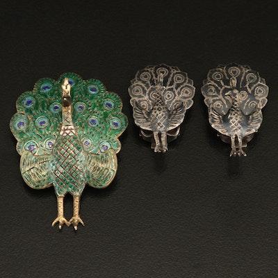 Thai Sterling Enamel Articulating Peacock Brooch with Clip Earrings