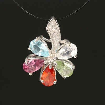 Sterling Flower Pendant Including Sapphire, Tourmaline and Moonstone