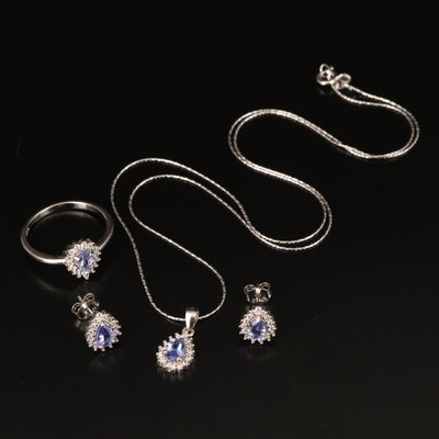 Sterling Tanzanite and Cubic Zirconia Jewelry Set