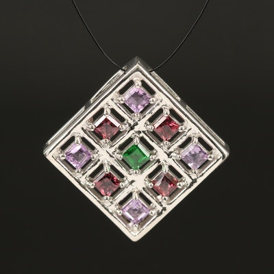 Sterling Amethyst, Sapphire and Diopside Pendant