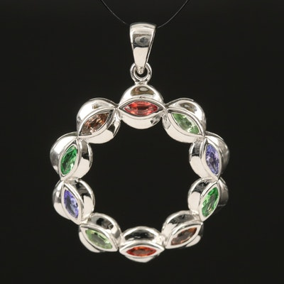 Sterling Iolite, Sapphire and Tsavorite Scalloped Circular Pendant