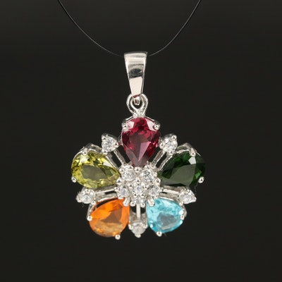 Sterling Floral Pendant Including Fire Opal, Apatite and Garnet