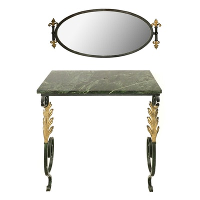 Hollywood Regency Iron and Marble Wall Mounted Console Table and Oval Mirror Set