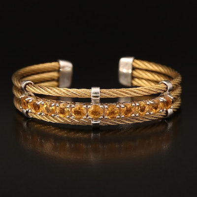 Sterling and Stainless Steel Cable Cuff with Citrine