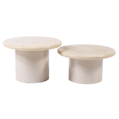 Pair of Contemporary Marble Top Round Tables