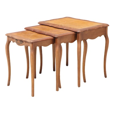 Set of Three French Provincial Style Maple Graduated Side Tables