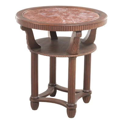 Classical Revival Carved and Quartersawn Oak Side Table with Rouge Marble Top