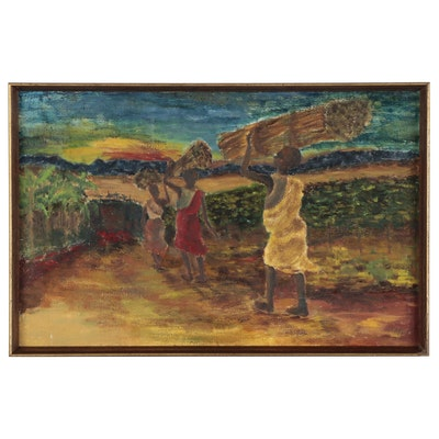 "Elsie Kay Harris Oil Painting ""African Sunset,"" 21st Century"