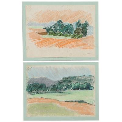 Elsie Kay Harris Landscape Pastel Drawings, Late 20th Century