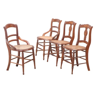 Matched Set of Four Victorian Walnut Side Chairs, Late 19th Century
