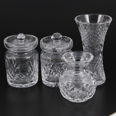 """Waterford Crystal """"Lismore"""" Jam Jar, """"Glandore"""" Vase, and Other Accessories"""