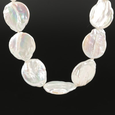 Coin Pearl Necklace with 18K Clasp